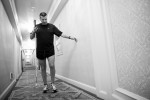 Ivan, leaves his room at 5:15 a.m. to use the hotel's workout facility.  He is currently training for the Boston Marathon.