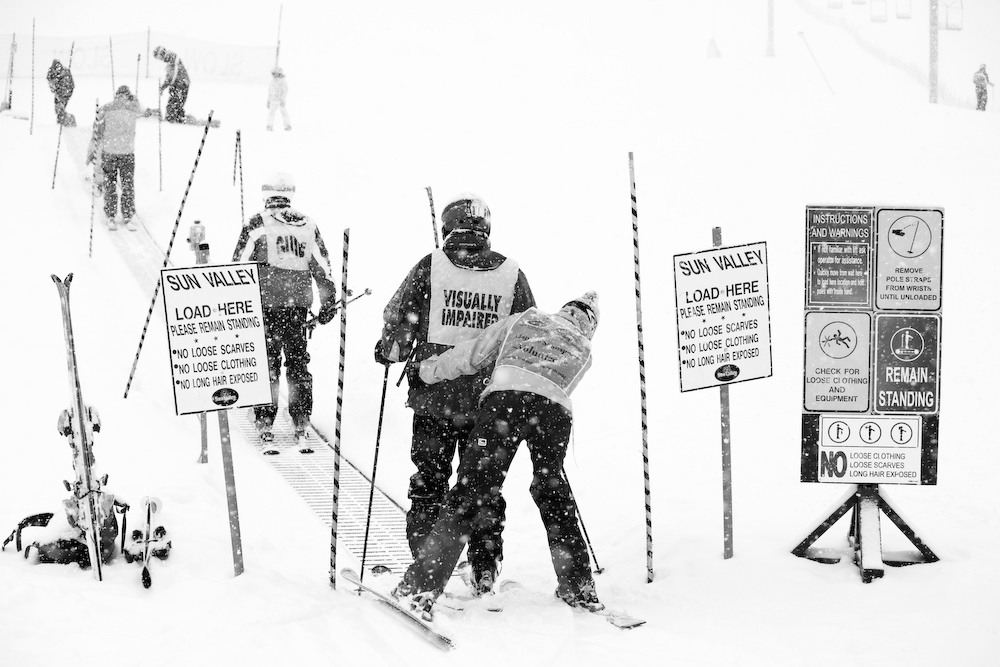 Participants at this {quote}Snow Camp{quote} spend four days learning to ski with professional guides.  By the last day, most are skiing independently with only the help of verbal commands.