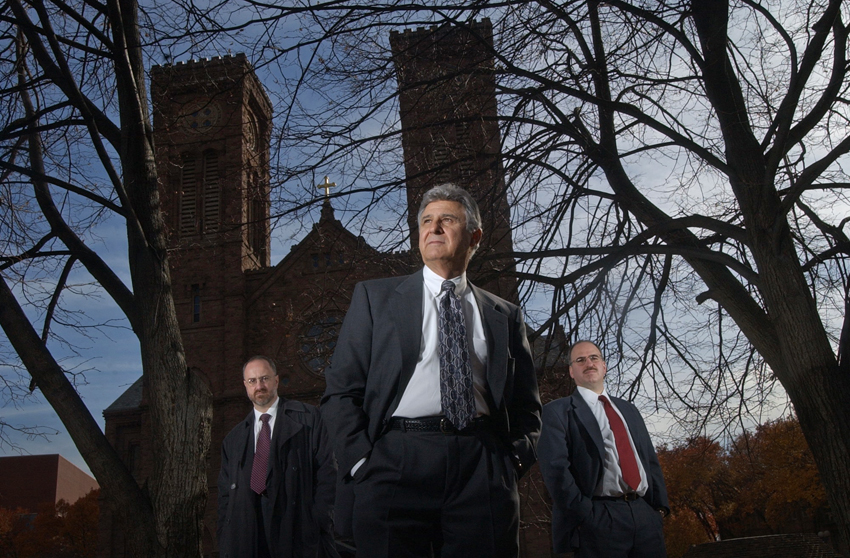 Lawyers Timothy J. Conlon, left, Richard A. Cappalli and Carl P. DeLuca represent victims in 36 sexual-abuse lawsuits against the Roman Catholic Diocese of Providence, which just reaches a $13.5-million settlement, abruptly ending what is believed to be the longest stretch of litigation over clergy misconduct in the nation.