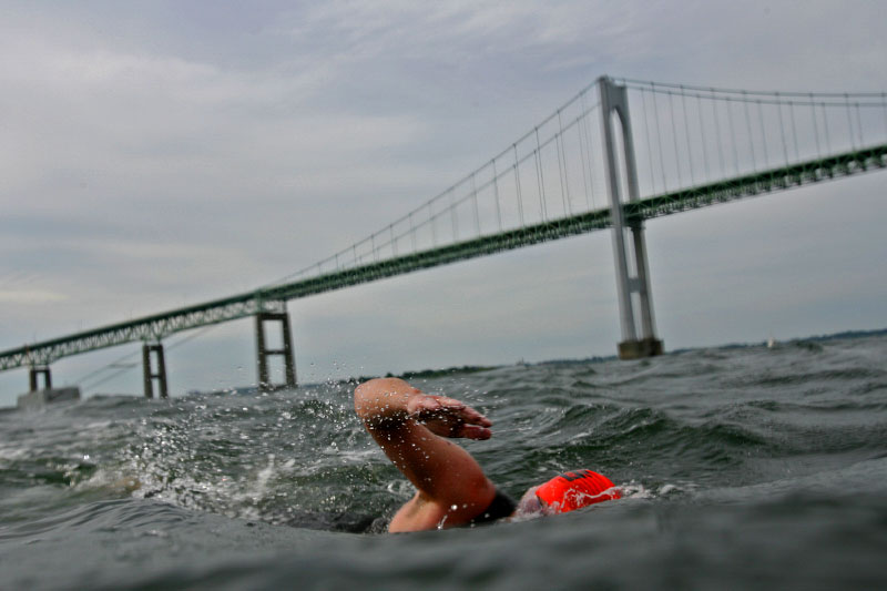 Swimmers brave a choppy Narragansett Bay during the 1.7 miles long annual Save the Bayswim from the Newport Naval Station in Newport, RI and to Jamestown, RI.