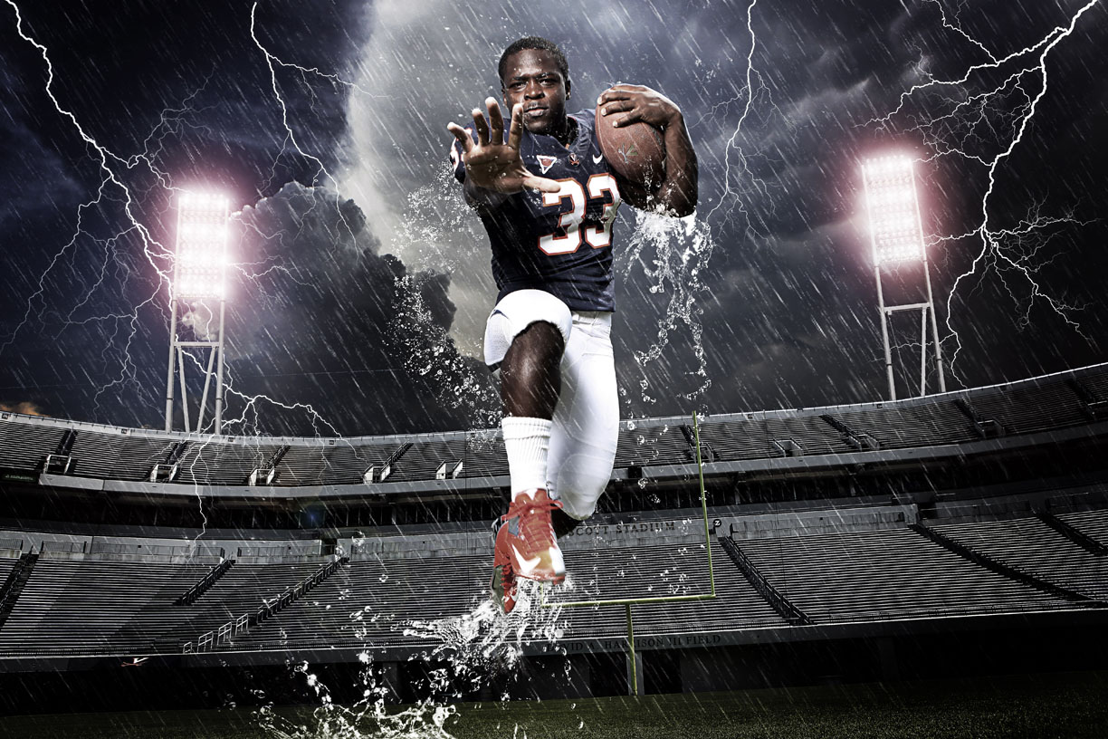 ***Photo Illustration : Perry Jones, University of Virginia football running back, Senior, 5' 8