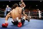 Chris Byrd, of Las Vegas, is knocked down by Shaun George, of Brooklyn, in the first round of the Light Heavyweight bout at Cox Pavilion Friday, May 16, 2008. George won 2:25 in the 9th round by TKO.