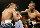 Shaun George, right, of Brooklyn, throws a blow to Chris Byrd, of Las Vegas, in the eight round of the Light Heavyweight bout at Cox Pavilion Friday, May 16, 2008. George won 2:25 in the 9th round by TKO.