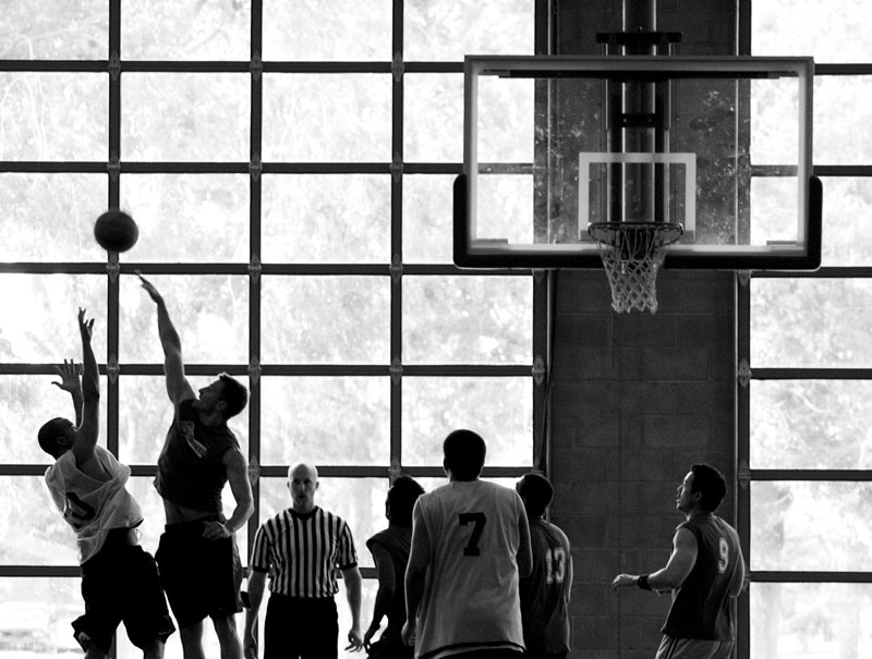 Black Sheep and Balls Deep play a game of intramural basketball at the Paradise Recreation and Community Services Center Monday, June 23, 2008. Black Sheep beat Balls Deep 86-51.