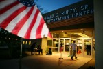 A voter enters the voting poll at Shadow Hill Baptist Church in Summerlin shortly after sunset on Election Day Tuesday, Nov. 4, 2008.