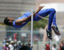 "Bishop Gorman's junior Randall Cunningham successfully completes the 7' 3 ¼"" high jump breaking national record at the state track meet hosted by Silverado High School Saturday, May 18, 2013, in Las Vegas."