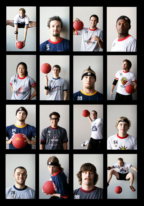 Members of the National Dodgeball League professional team are photographed at the Sports Complex Sunday, September 17, 2006 in Las Vegas.