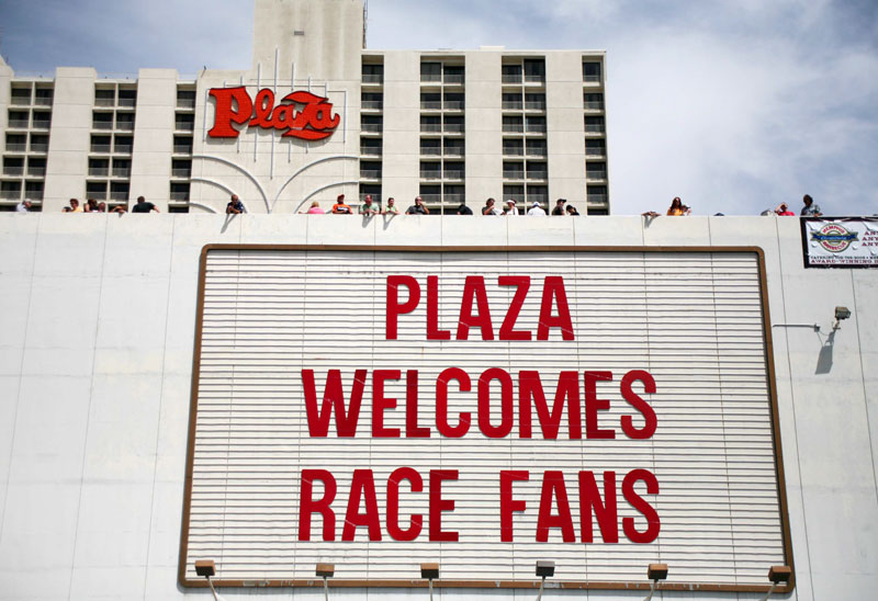 Fans line the roof of the Plaza parking garage prior to the Champ Car World Series Vegas Grand Prix Sunday, April 8, 2007 in Las Vegas.