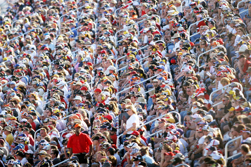 Fans watch the NASCAR UAW-Daimler Chrysler 400 at Las Vegas Motor Speedway Sunday, March  11, 2007.