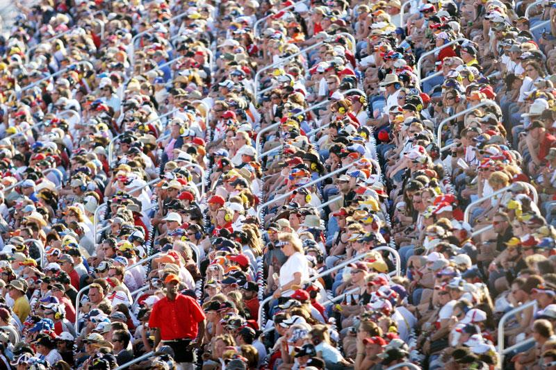 Fans watch the NASCAR UAW-Daimler Chrysler 400 at Las Vegas Motor Speedway.