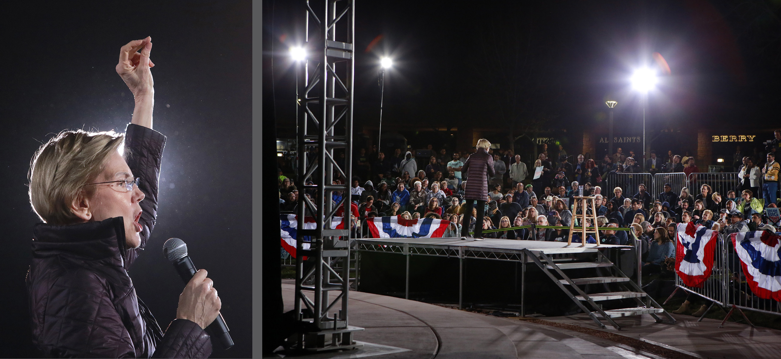 Democratic presidential candidate Sen. Elizabeth Warren, D-Mass., speaks at a campaign rally on the night prior to the Nevada Democratic Caucus Friday, Feb. 21, 2020, in Las Vegas. (Photo by Ronda Churchill/AFP)