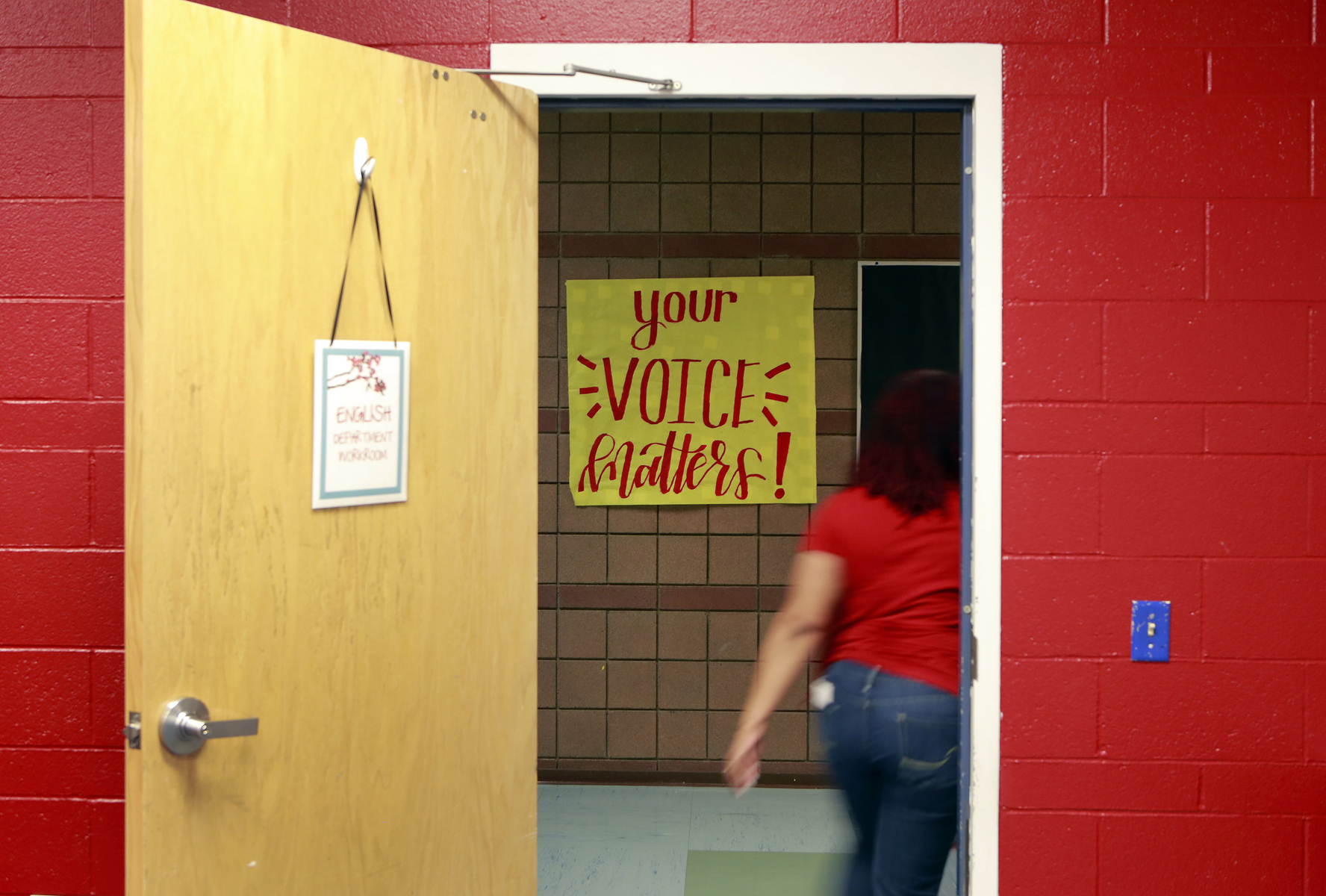 A sign is shown on the hallway during the Nevada Democratic Caucuses at Liberty High School Saturday, Feb. 22, 2020, in Henderson, Nevada. (Ronda Churchill /The Nevada Independent)