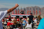 Supporters listen to Vice President Mike Pence speak at a GOP rally Thursday, October 8, 2020, in Boulder City, Nevada. (Photo by Ronda Churchill/AFP)