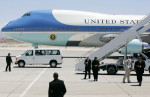 Air Force One prepares to depart Nellis Air Force Base after President Barack Obama spoke regarding the Recovery Act Wednesday, May 27, 2009, in Las Vegas.