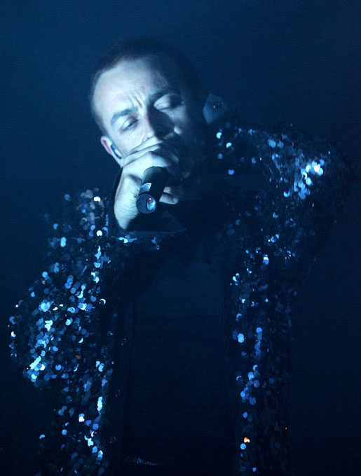 Karl Hyde, of the British electronic group Underworld, performs at the Hard Rock hotel-casino in Las Vegas.