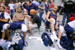 Utah Jazz's Deron Williams, left to right, Cleveland Cavaliers' LeBron James and Utah Jazz's Carlos Boozer relax and speak to the media after participating in a USA Men's Basketball practice at Cox Pavilion in Las Vegas.