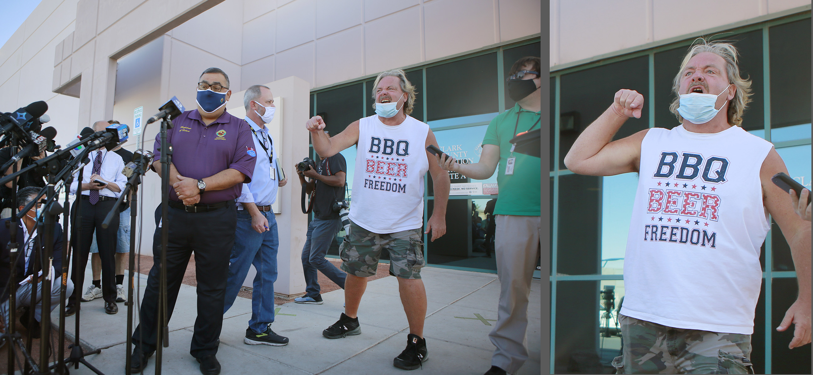 Clark County Registar of Voters Joe Gloria, left, is interrupted by a disgruntled member of the public during a press conference outside Clark County Election Department Wednesday, November 4, 2020, in North Las Vegas.