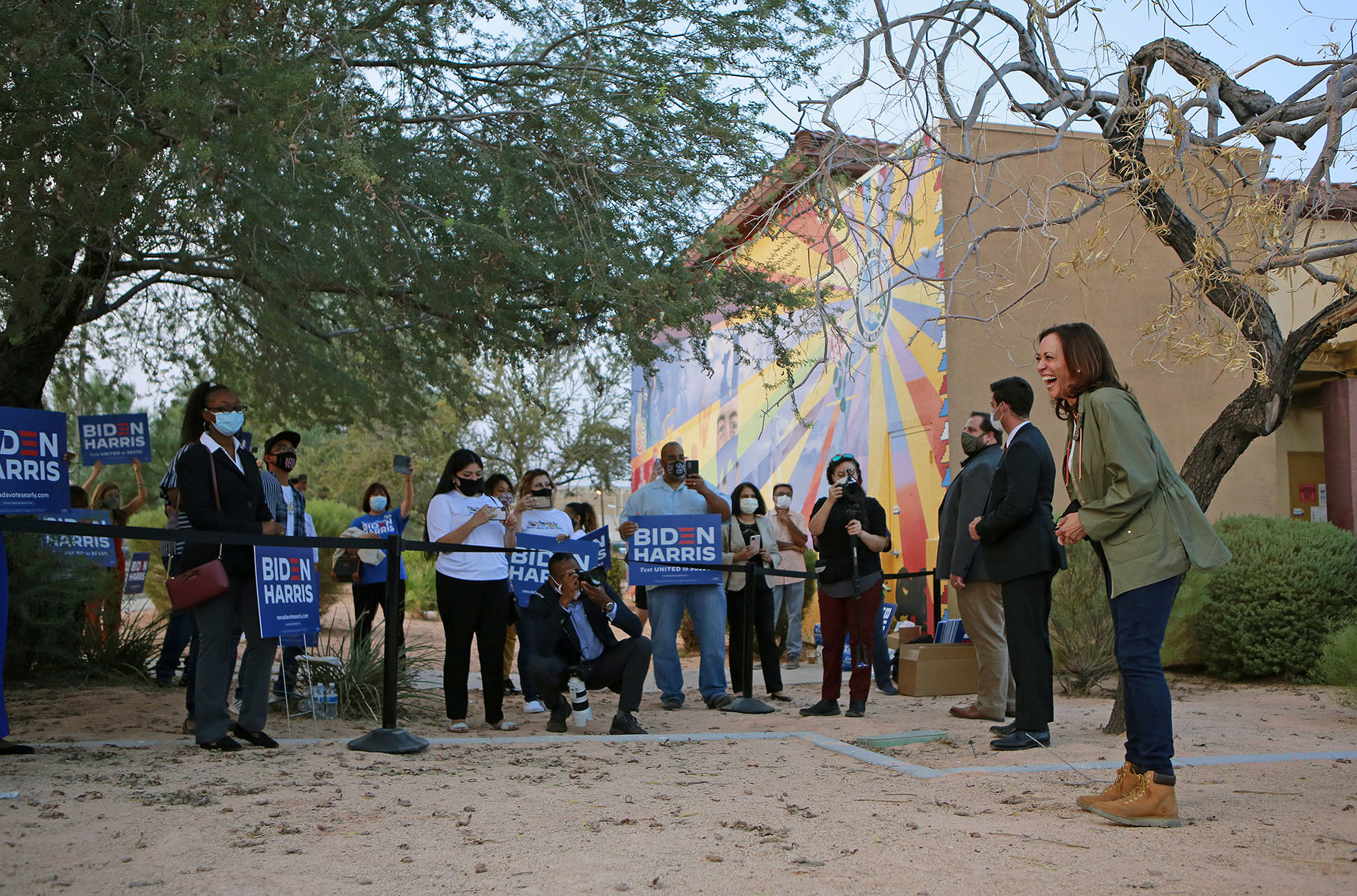 Democratic vice presidential candidate U.S. Senator Kamala Harris (D-Calif.) visits briefly with supporters after taking part in a community discussion at Rafael Rivera Community Center Tuesday, September 15, 2020, in Las Vegas. Since the event was closed to the public due to COVID-19 precautions, supporters gathered outside the building where Harris spoke hoping to get a glimpse of the candidate.