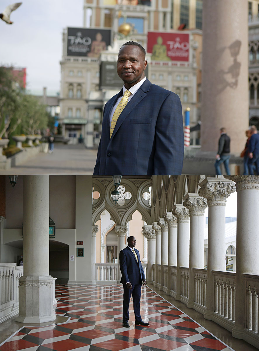 South Sudan refugee and Las Vegas resident Biar Atem stands outside the Venetian hotel-casino on The Strip. Atem, who in 2001 started as a janitor at the the hotel-casino, is currently a contract audit manager for the same Sands Corporation property.