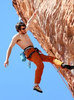 Professional rock climber Ethan Pringle, of San Francisco, lead climbs along the {quote}New Wave Hookers{quote} route at Calico Basin in Red Rock Canyon National Conservation Area. Athletes gathered at Red Rock and Spring Mountain Ranch State Park to participate in the weekend-long Red Rock Rendezvous, a rock climbing festival with clinics, outdoor activities and social events presented by Mountain Gear. (Ronda Churchill/Las Vegas Review-Journal)