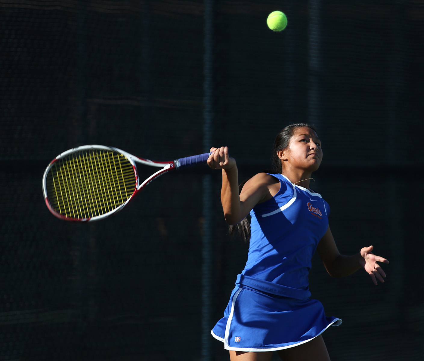 Bishop Gorman sophomore Amber Del Rosario keeps her eye on the ball during a Division 1 state championship game against Palo Verde at Darling Tennis Center. Gorman girls team took the title with a 10-8 win.