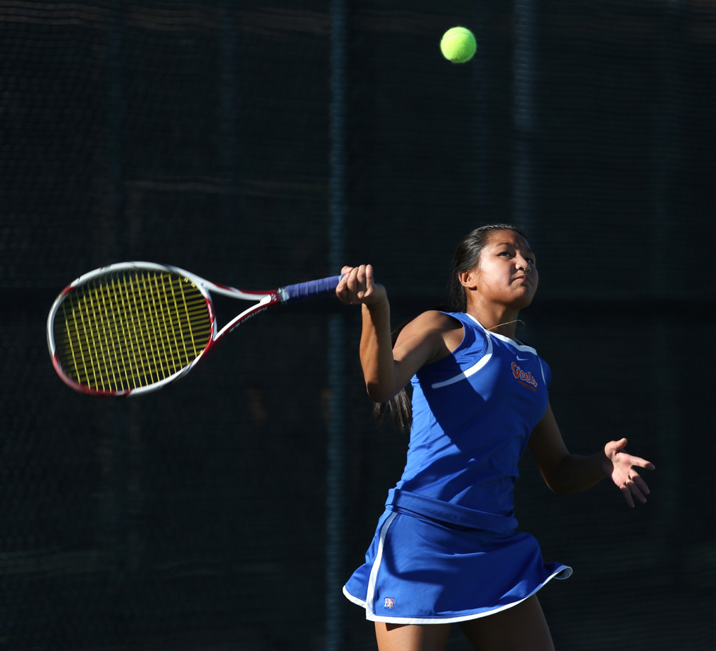 Bishop Gorman sophomore Amber Del Rosario keeps her eye on the ball during a Division 1 state championship game against Palo Verde at Darling Tennis Center Friday, Oct. 25, 2013, in Las Vegas. Bishop Gorman girls team took the title with a 10-8 win.