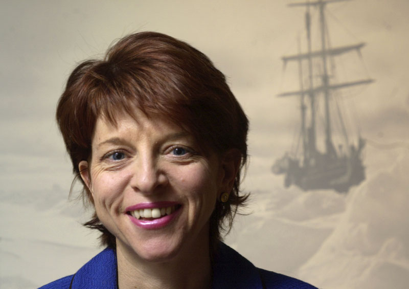 © 2010 Harvard University. Harvard Business School Professor Nancy Koehn with an image of Ernest Shackleton's ship Endurance hopelessly mired in Antarctic ice. Koehn cites Shackleton's leadership skills in a course she teaches on business and entrepreneurship.