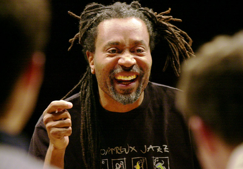 Musician Bobby McFerrin conducts a workshop with the Harvard Jazz Band.