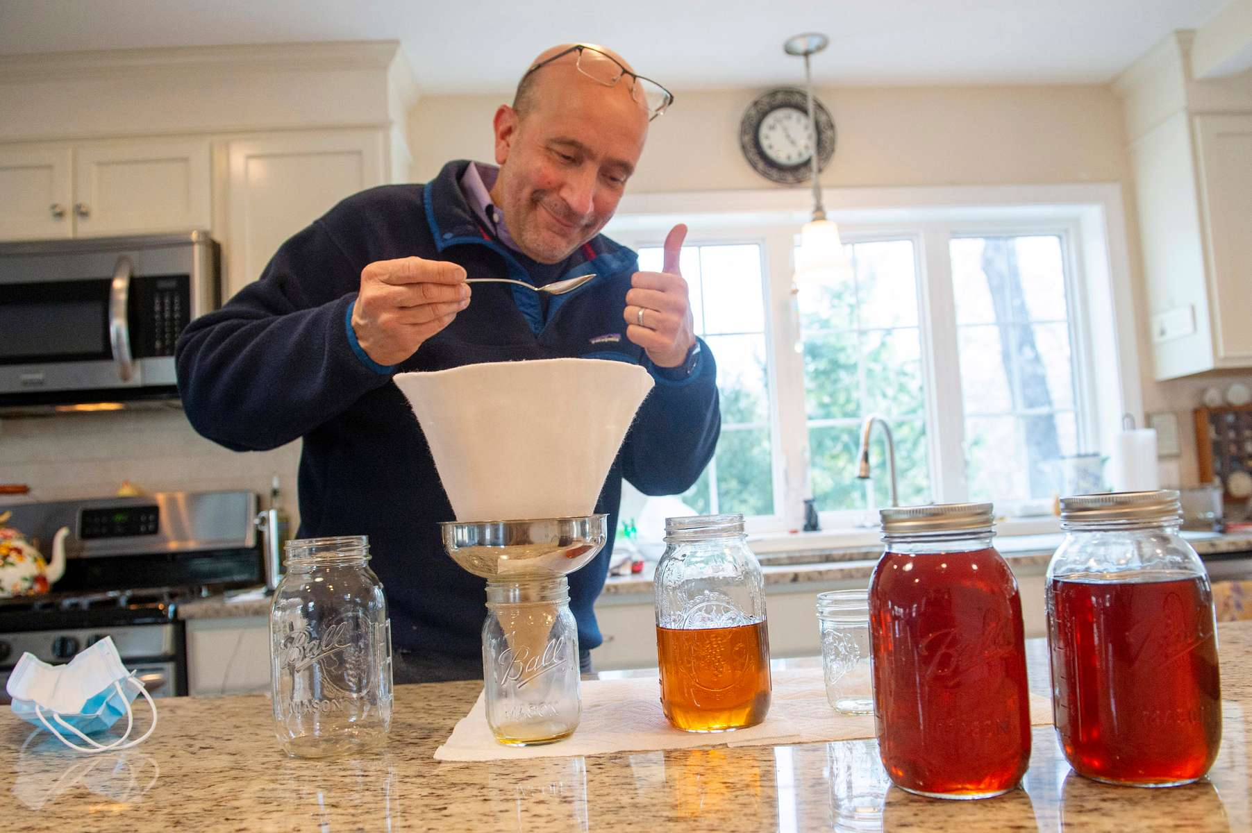 Friend and fellow photographer Tony Rinaldo makes maple syrup from 6 maple trees in his yard in Acton, MA. Jon Chase photo