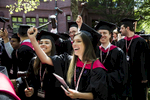 Law School graduates wield their gavels with the conferral of degrees. Harvard University's 367th Commencement. Jon Chase/Harvard Staff Photographer