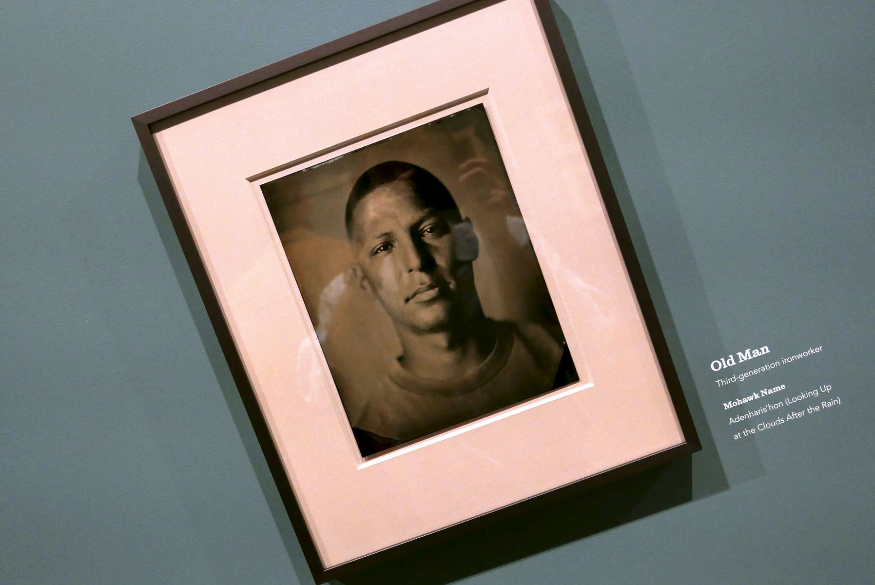 Tintype portrait of Mohawk iron worker {quote}Old Man{quote} in 9/11 Memorial and Museum, by photographer Melissa Cacciola. Jon Chase photo