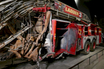 Fire truck at lower level of World Trade Center, 9/11 Memorial and Museum, NYC. Jon Chase photo