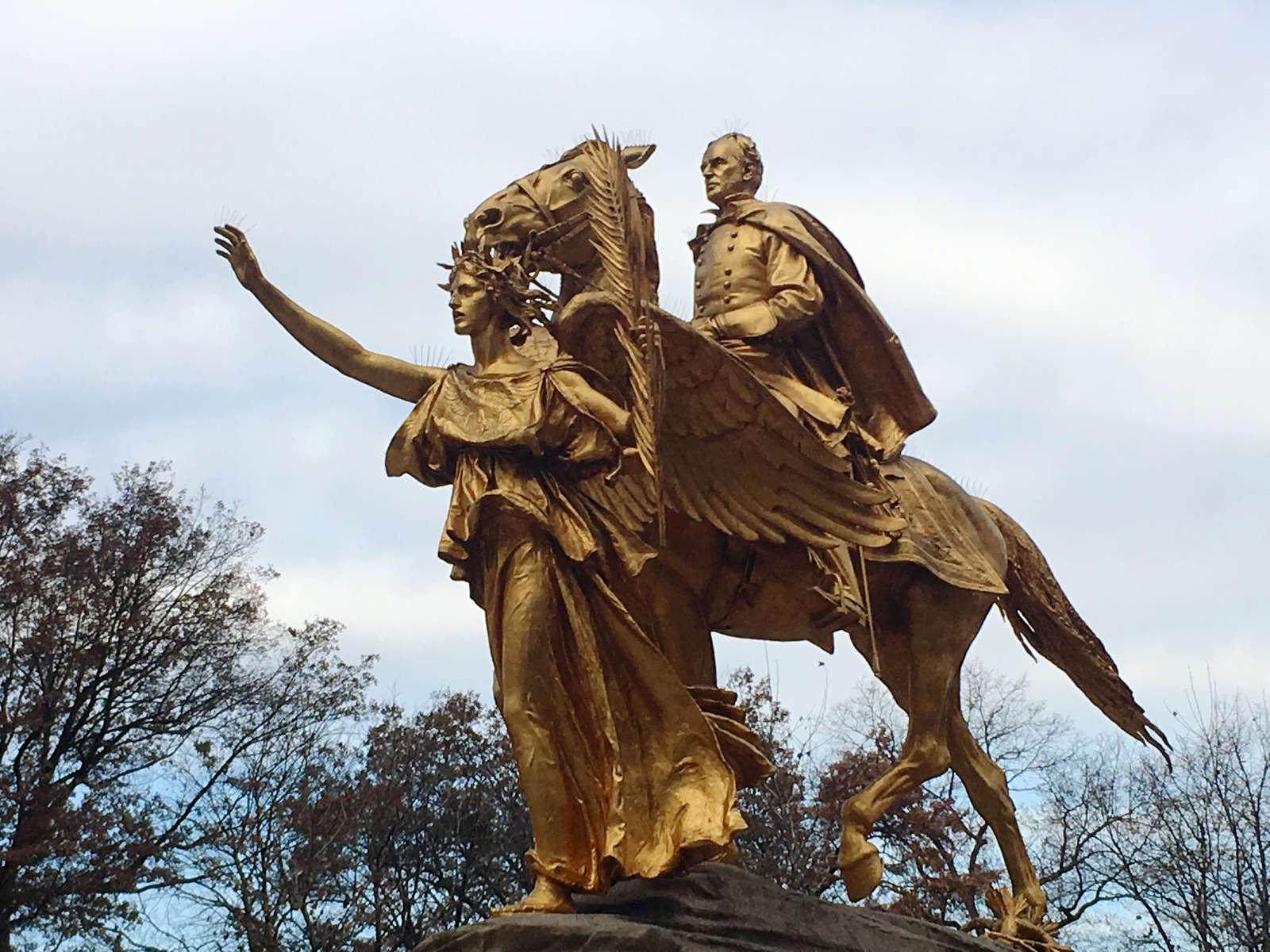 The gilded bronze General William Tecumseh Sherman Monument, NYC.  Jon Chase photo