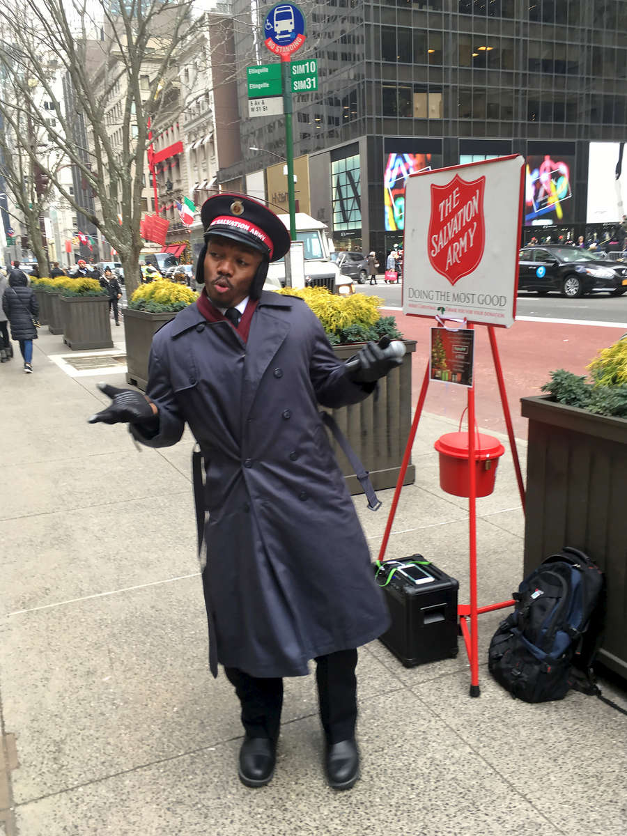 Dancing Salvation Army worker, NYC. Jon Chase photo