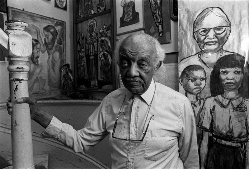 Allan Crite, Boston artist, in his home museum.