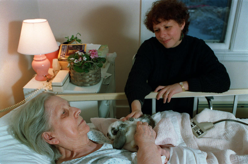 An aide tries to soothe a resident with a live rabbit.