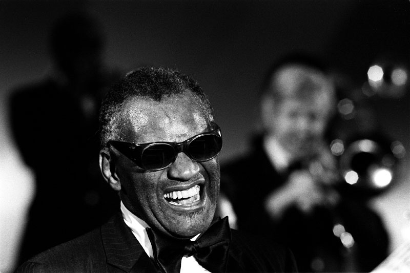 Singer Ray Charles performs at Perkins School for the Blind in Watertown, MA.