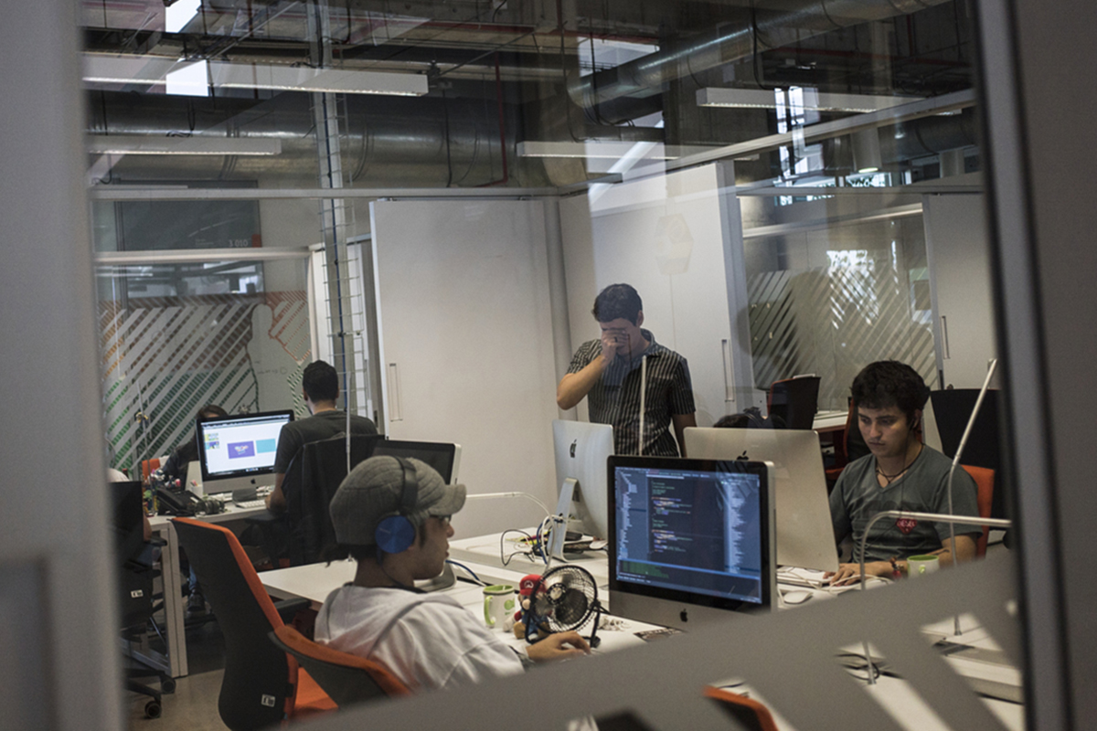 Blockwise, which designs video games, is one of a dozen tech companies at RutaN, a government-based innovation and tech hub housed in a LEED certified building, and home to dozens of tech start-ups and international corporations, in Medellin, Colombia.