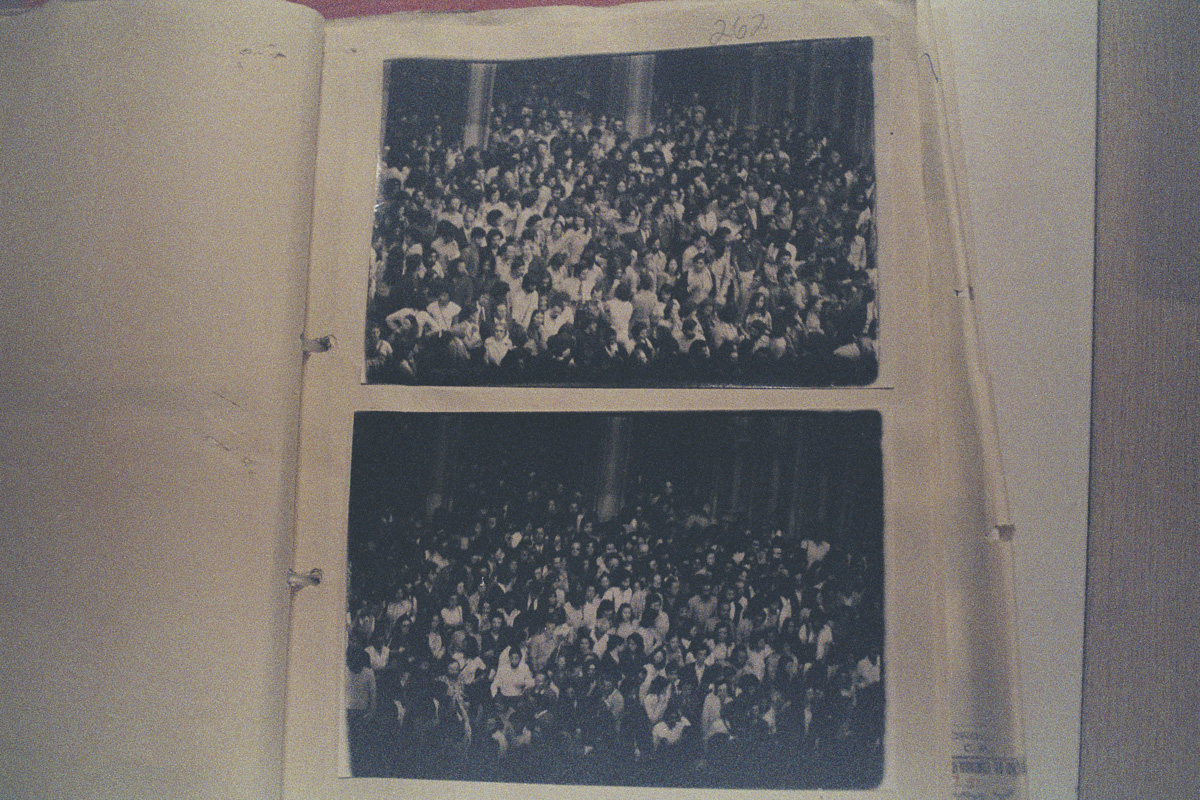 Photos taken by the police show thousands of people at a memorial service for journalist Vladamir Herzog at São Paulo Cathedral, who was killed by torture by the state. The photos were used as visual records by the military of their investigations on civilians, social groups and social movements during the 20-year dictatorship. It includes images of thousands of people arrested on charges of subversion. State Department of Political and Social Order (DEOPS), São Paulo.