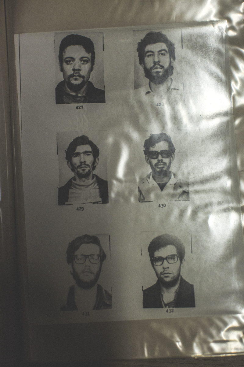 Mug shots of civilians who were arrested on charges of subversion and investigated, at the State Department of Political and Social Order (DEOPS), in São Paulo. The archives hold all investigations of civilians, social groups and social movements during the 20-year dictatorship and includes images of thousands of people arrested on charges of subversion.There are 13,500 folders or about 1.5km of documents when laid out. The red folders hold general information such as newspapers and books. The blue folders hold investigations of monitored social organizations and movements, including photographs of individuals. There are also folders of individuals who were investigated and monitored during the dictatorship.
