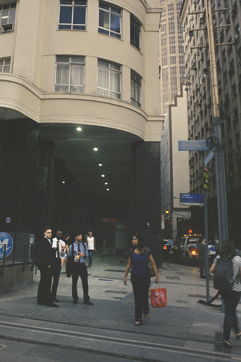 Pedestrians in front of the Military Club, in downtown Rio de Janeiro.