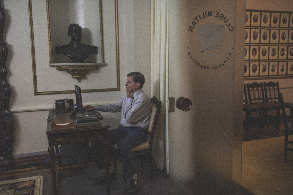 General Gilberto Rodrigues Pimentel, president of the Military Club in Rio de Janeiro at his office. Every year the club organizes a luncheon to commemorate the anniversary of the March 31, 9164 coup. {quote}I do not see why we have to ask for forgiveness,{quote} says the veteran, who believes that the {quote}soldiers have saved the country{quote}. {quote}Without us we, Brazil, would probably be much less democratic.{quote}