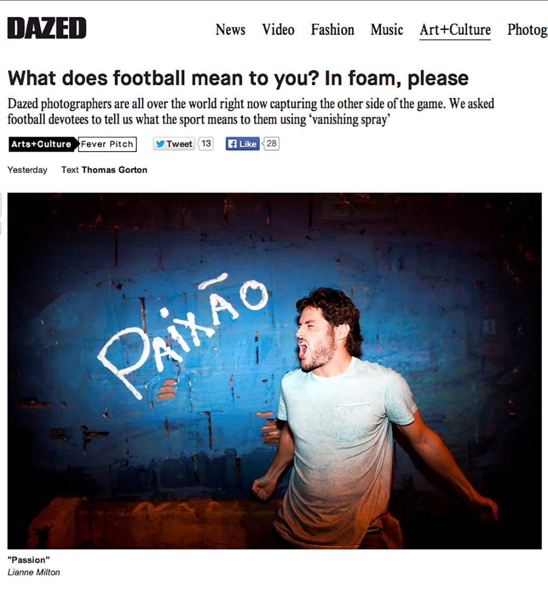 For Dazed and Confused during the World Cup in Rio de JaneiroPublished: June 2014