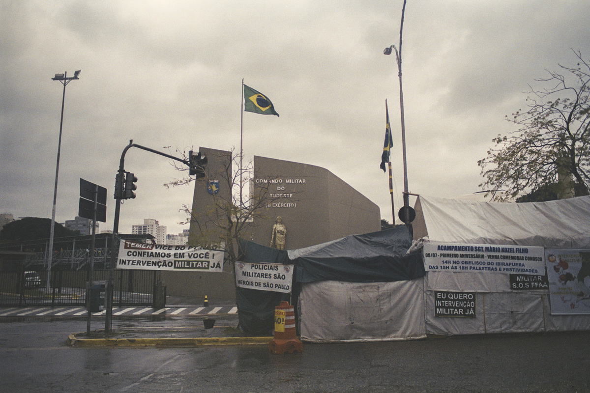 The headquarters of the Brazilian Interventionist Resistence Movement (MBRI), a radical group that wants military intervention of the government. The makeshift camp of tarps is situated between the State Legislative Assembly and the Ministry of the Military, in São Paulo.