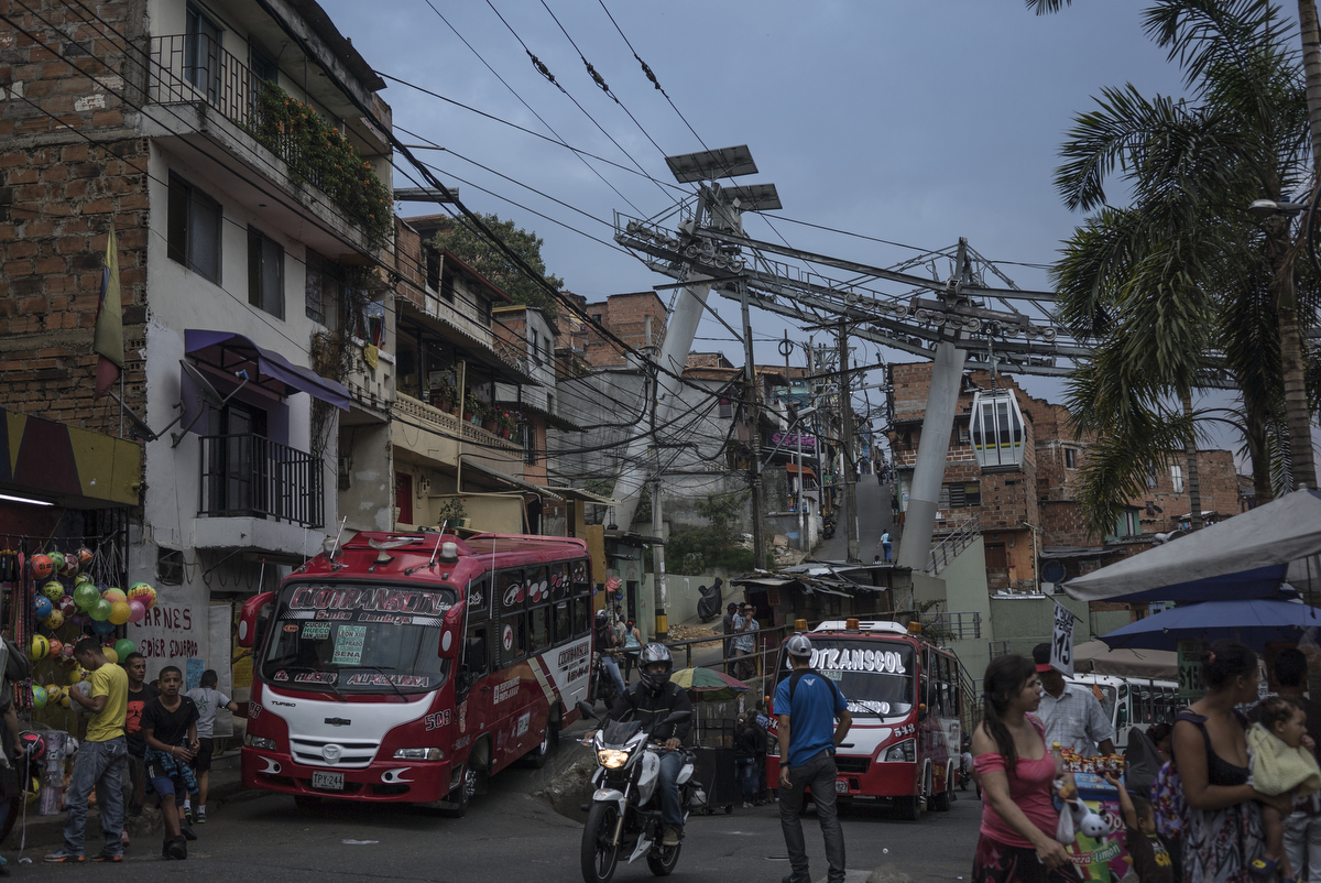 Santo Domingo metro-cable in Comuna 1, the first of several transformation projects, which connects the city's most poorest neighbourhood to the metro in the city center, in Medellin, Colombia.