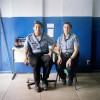 Police officers Marceba Gomes, 29, left, and Ana Carolina Braz, 32, right, dispatch of the Pacifying Police Unit (UPP), in Complexo do Caju, Rio de Janeiro, Brazil.