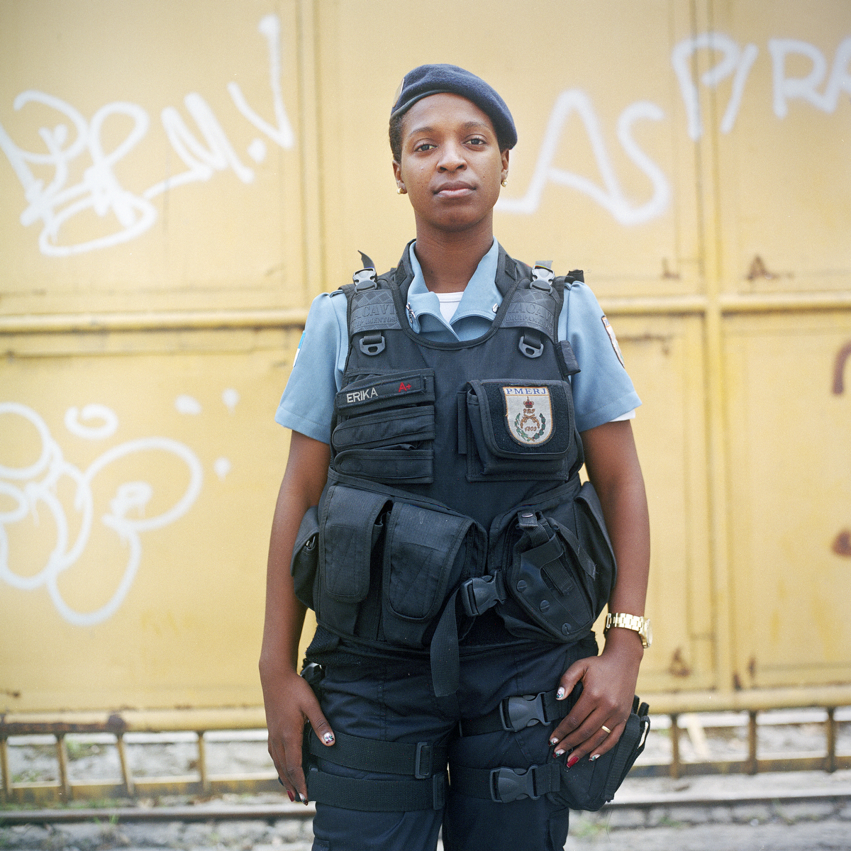 Patrol officer Erika Queriroz, 25, with the Rapid Response Team of the Pacifying Police Unit (UPP), in Complexo do Caju, Rio de Janeiro, Brazil.