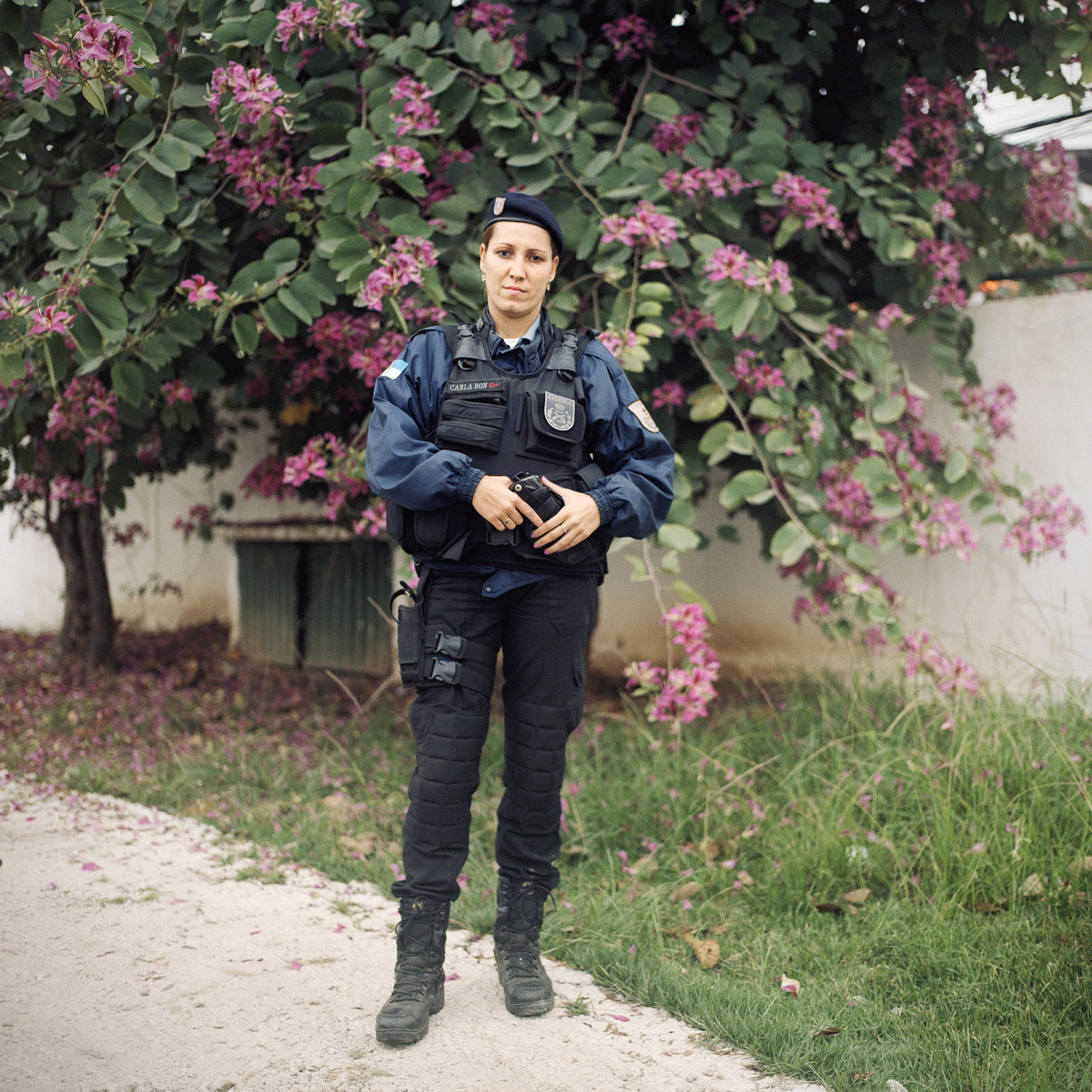 Patrol Officer Carla Bonn, 33, with the Rapid Response Team of the Pacifying Police Unit (UPP), in Complexo do Caju, Rio de Janeiro, Brazil.