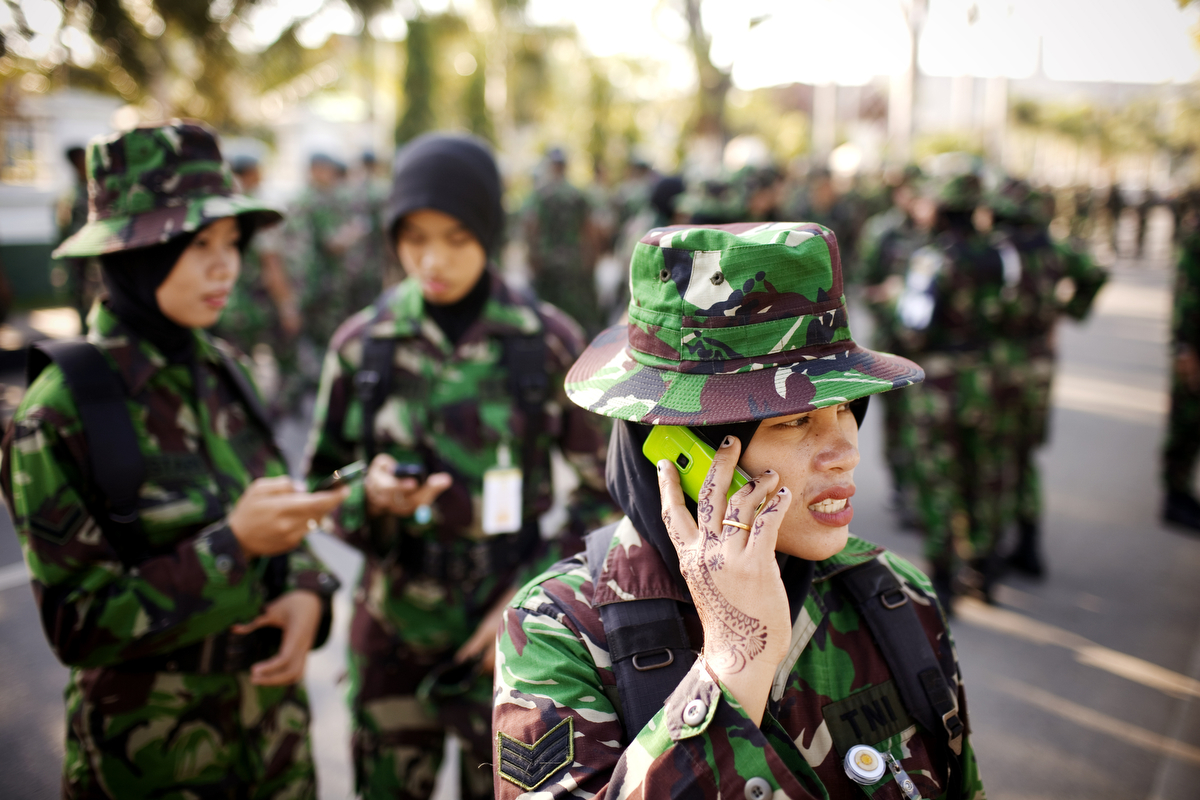 The Indonesian military's special women's unit is the only unit for women in the military to wear fatigues in the country, in Banda Aceh, Indonesia, on Wednesday, Dec. 15, 2010. They participate in search and rescue, women's issues, and trauma.