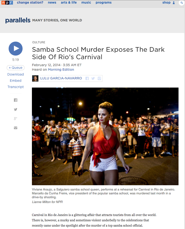 For National Public Radio in Rio de JaneiroPublished: February 12, 2014